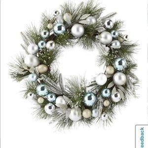 North Pole Trading Post Blue & Silver Wreath